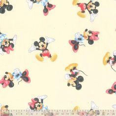 Cotton Pique - Mickey Mouse Cream - cotton fabric