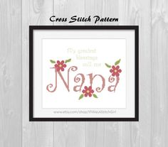 Show your nana (or your kids nana) some love with this beautiful cross stitch that says My greatest blessings call me Nana - It was designed on an 8 by 10 grid so that it can be framed nicely once it is complete. Perfect for Mothers Day, Grandparents Day, Birthday, Christmas, or for no reason at all!  Finished design is 9.36 by 6.64 inches on 14 count Aida, uses 5 colors (DMC) and has a total of 2,298 full stitches. In addition, there are some backstitches in the lettering and one french…