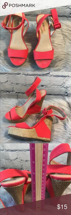Just Fab Red Wedge Heels Just Fab Red Wedge Heels Size 6 No Box No Trades GUC JustFab Shoes Wedges