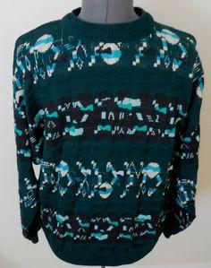 Carlo Alberto For Beau Cio Crewneck Sweater Sz L Dark Green Australia Cotton #CarloAlbertoForBeauCio #Crewneck