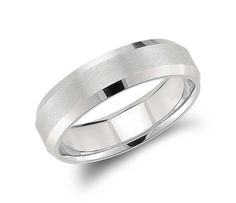 For The Groom | Beveled Edge Matte #Wedding #Ring in Platinum