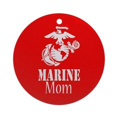 Marine Mom Christmas ornament. Red with the white EGA symbol and logo.  A Mother of a Marine is very proud of her son or daughters military service and these MoMs show their pride with USMC shirts, decals, key chains and car decals.