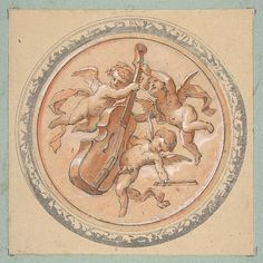 Medallion with putti holding a cello Jules-Edmond-Charles Lachaise (French, died 1897) Date: second half 19th century Medium: Graphite and watercolor