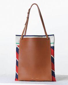 Double Shoper in Printed Silk Satin Foulard & Calfskin Leather| CÉLINE