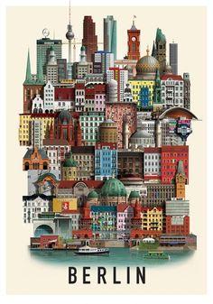 Berlin poster by Martin Schwartz Aarhus, Berlin Band, Building Art, Travel Illustration, Photo Blue, Aesthetic Room Decor, Berlin Germany, Berlin Berlin, Cartoon Wallpaper