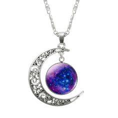 Galaxy Moon Silver Pendant Necklace