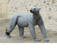 'Polar Bear' by Kendra Haste. Steel armature & painted galvanised wire @ the Tower of London