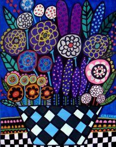 Harlequin Flower Pot Art Print Folk Art by HeatherGallerArt, $24.00