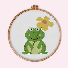 Happy Frog with Flower cross stitch pattern modern by ThuHaDesign