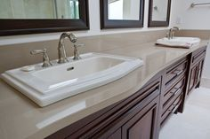 Vanity top with double sink in Latte Caesarstone