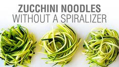 Video: 3 Ways to Make Zucchini Noodles without a Spiralizer Making Zucchini Noodles, Zucchini Noodle Recipes, Veggie Noodles, Vegetable Recipes, Vegetarian Recipes, Healthy Recipes, Zuchinni Noodles, Green Vegetarian, Zucchini Pasta