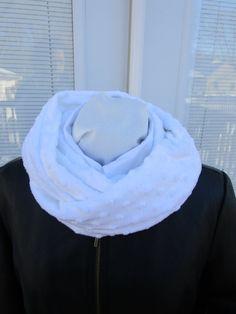 White Minky infinity scarf, winter scarf, Cuddle fleece scarf