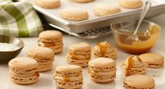 Pumpkin Pie Spiced Salted Caramel Macarons: A French macaron is a colorful meringue sandwich cookie. Fillings can include chocolate ganache, buttercream and jam. Our version is flavored with pumpkin pie spices and filled with a salted caramel buttercream.
