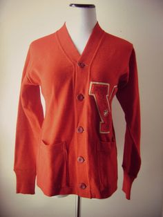 60s Letterman Sweater Vintage 1960s Red Sweater by roadkillvintage