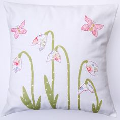 SNOWDROP and BUTTERFLY applique cushion / pillow. Perfect gift made using Cath Kidston fabric. Handmade in the UK. sewn message on back