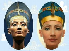 In the left  the real famous bust of Nefertiti, and in the right  3d model depict how she looked according to the bust