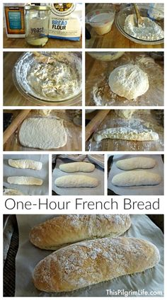 warm French bread in just one hour? Four ingredients and two loaves? Yes please!Fresh warm French bread in just one hour? Four ingredients and two loaves? Yes please! Homemade Sandwich Bread, Homemade Breads, Homemade Bread Easy Quick, Ciabatta Bread Recipe, Do It Yourself Food, Bread Machine Recipes, Bread Baking, Bread Food, Yeast Bread