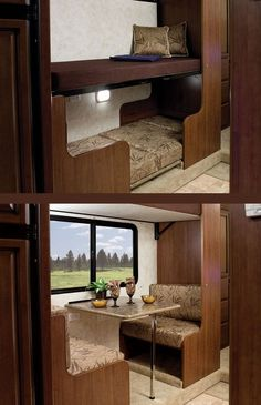 """""""Bunk Bed-n-Breakfast"""" space-saving two-person dinette with convertible bunk beds"""