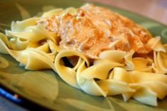 This Crockpot Chicken Stroganoff is quick and easy and light too boot! Whip it up today and no one will complain!