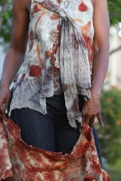 Nuno felted tank top with silk bow.  Eco printed with eucalyptus.
