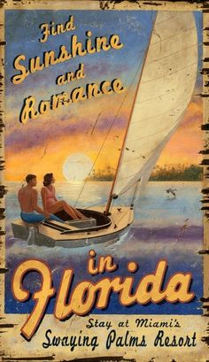 Ah... the romance of a sailing excursion at sunset; printed directly to a distressed wood panel, this Sunset and Romance custom beach art is a great way to celebrate your love of the sea! Old Florida, Vintage Florida, Florida Travel, Visit Florida, Florida Style, Miami Florida, Beach House Signs, Beach House Decor, Vintage Beach Signs