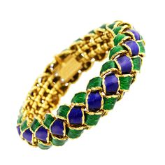 Tiffany & Co. by Jean Schlumberger 1960s Peacock Blue & Green Enamel and Gold Bracelet | 1stdibs.com
