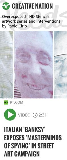 An Italian artist has declared a 'brush - and - ink' war on mass surveillance – he looks for private photos of high - ranking US intelligence officials, reworking them in a stencil technique. He the.. | #overexposed #hdstencils | http://veeds.com/i/Wu5EexLrmiZW34Fc/creativenation/