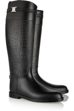 Michael Kors Collection Miranda Croc-Effect Rubber Rain Boots, $295; net-a-porter.com    - ELLE.com
