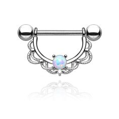 Calypso Nipple Bar - Absolutely adorable nipple piercing that frames your nipple. Beautiful filigree design accompanied by our stunning rainbow coloured opal which shines multiple tones.  Material: 316L Medically graded Surgical steel bar & Synthetic Opal Decorative Shield: Rhodium plating over brass (Removable decorative shield, so it can be worn two ways) Gauge: 14g Bar size: 12mm  Ball: 5mm (External screw)