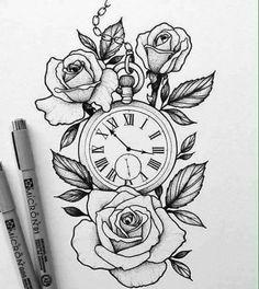 Ideas Tattoo Rose Design Draw Sketch For Tattoo designs, Rose Tattoos, Flower Tattoos, Body Art Tattoos, New Tattoos, Sleeve Tattoos, Tattoos For Guys, Tattoo Women, Tattoo Designs For Women, Designs To Draw