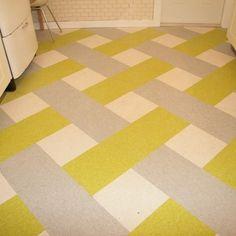 1940's cottage, plaid kitchen floor, linoleum tile