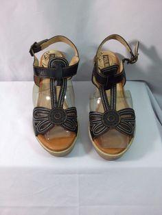 Pikolinos Womens Trinidad T-Strap Heeled Sandals Black Size EU 36/US 6 M #Pikolinos #TStrap