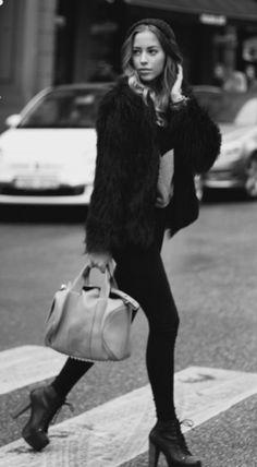 black fur coat + alexander wang bag + litas