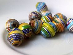 12 perle di carta  mescolare i colori