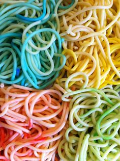 Sensory play for babies and toddlers. Coloured pasta