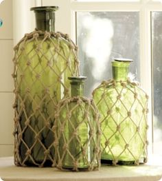 DIY Jute Covered Green Glass Jars