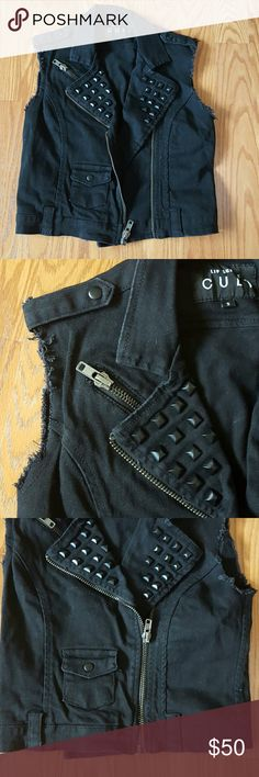 Lip Service studded moto vest Never worn. Just been sitting in my closet. Distressing aroun armpit holes is intentional. There are a few extra threads here and there as well. lip Service Jackets & Coats Vests