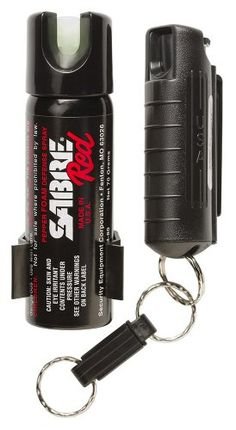 SABRE RED Police Strength Pepper Spray - Home & Away Protection Kit - Compact, Black Case with Quick Release & Glow-In-Dark Home Spray with ...