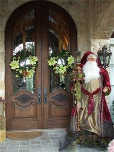 Christmas entry with Santa : by Leanne Michael Christmas Front Doors, Christmas Porch, Elegant Christmas, Noel Christmas, Merry Little Christmas, Father Christmas, Outdoor Christmas, All Things Christmas, Beautiful Christmas