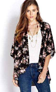 Free Spirit Floral Kimono from Forever Saved to CCC:Casual Comfy Clothes😊. Shop more products from Forever 21 on Wanelo. Look Kimono, Kimono Outfit, Kimono Fashion, Kimono Top, Cotton Kimono, Floral Kimono, Floral Cardigan, Floral Blazer, Back To School Fashion