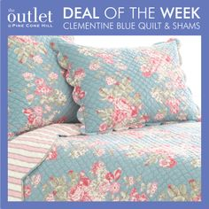 February 3-9: Who's ready for a floral bedding refresh? Our Clementine quilt and shams are the perfect way to give your bedroom décor that touch of spring you've been craving. This week only, get 80% off at The Outlet at Pine Cone Hill.
