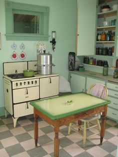 find this pin and more on vintage kitchen - Green Kitchen Table