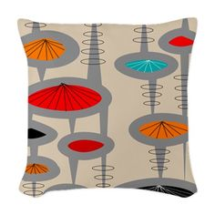 Atomic Era Inspired Woven Throw Pillow on CafePress.com http://www.cafepress.com/+atomic_era_inspired_woven_throw_pillow,1348968971