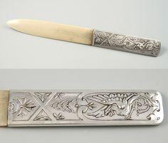 Brieföffner / Letter opener, Paper Knife, Deutsch / German, ca.1930, Silber 800/Elfenbein / Silver 800/Ivory,  L 24 cm