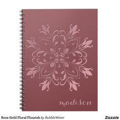 Rose Gold Floral Flourish Spiral Notebook