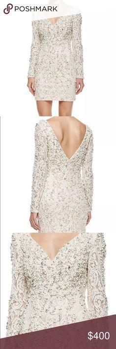 18320cd3137 Jovani Ivory Long Sleeve V-Neck Beaded Lace Dress Jovani Ivory Long Sleeve  V-