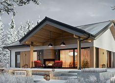 Modern Bungalow Exterior, Classic House Exterior, Modern Bungalow House, Bungalow House Plans, Modern Farmhouse Exterior, House Paint Exterior, Dream House Exterior, New House Plans, Pole Barn House Plans