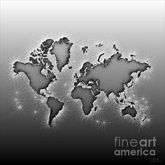 World Map Opala Square In Black And White by elevencorners. World map wall print decor. #elevencorners #mapopala