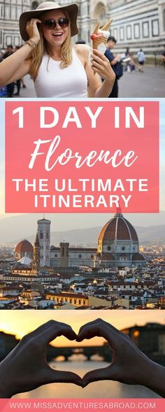 How To Spend 1 Day In Florence: The Complete Itinerary · Make the most out of just 24 hours in the birthplace of the Renaissance! Use this itinerary (and helpful map) to plan the perfect day in Florence, Italy. Drop by the David, visit the city's famous churches, museums, and landmarks, and hit the best gelateria and restaurants in town!