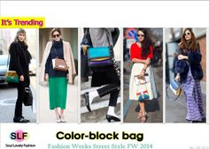 Color-block bag is a Trending Street Style at Fall Winter 2014 Fashion Weeks #bags #fw2014 #colorblock